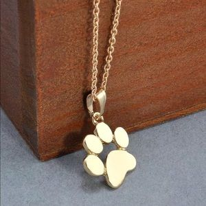 Jewelry - Cute dog cat pet paw print 🐾 gold necklace NEW